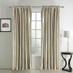 (Two Panels Rod Pocket Top) Classic Solid Beige Velvet Lined Curtain  – AUD $ 109.17