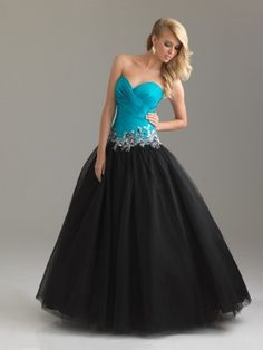 A-line Sweetheart Paillette Sleeveless Floor-length Tulle Prom Dress