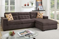 Poundex Sectional Sofa Dark Brown Chenille Fabric F7778