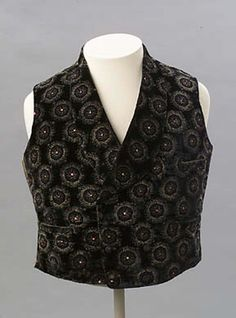 1850s, America - Man's waistcoat - Silk; velvet with cut and uncut pile; cotton lining