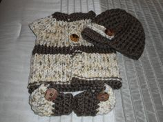 Sweater set, Cardigan, Hat & Booties, Baby sweater, Baby Hat, Baby Booties, Baby Boy, Shower Gift by bonitastewart on Etsy