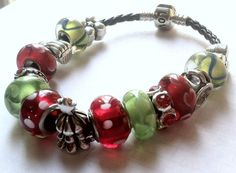 Christmas Tree European Charm Bracelet on Etsy, $8.00