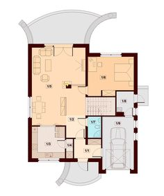 DN Karen is a house with an attic, basement with garage single user in a block building. The project is. Dream Home Design, House Design, Garage, Design Case, House Plans, Floor Plans, Cottage, How To Plan, Building