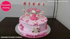 Hello kitty theme easy simple birthday cake design ideas for kids Cartoon Birthday Cake, Hello Kitty Birthday Cake, Friends Birthday Cake, Animal Birthday Cakes, Baby Birthday Cakes, Happy Birthday, Simple Birthday Cake Designs, Cake Designs For Kids, Simple Cake Designs