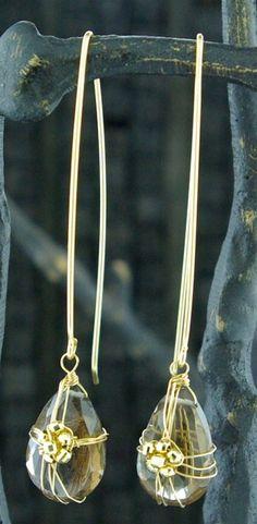 Earrings | Julieri Designs.  18k & 14k yellow gold with smokey topaz.