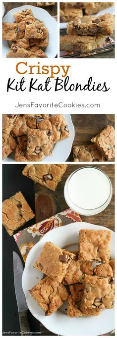 Crispy Kit Kat Blondies from JensFavoriteCookies.com - you'll love how these simple bars are punched up with Kit Kat bars and crisp rice cereal!