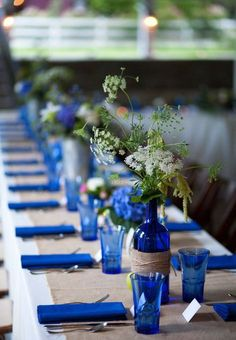 Blue and burlap themed reception table. blue and burlap themed reception table wedding centerpieces Royal Blue Wedding Decorations, Wedding Reception Decorations, Wedding Centerpieces, Wedding Colors, Table Decorations, Royal Blue Centerpieces, Blue Vases, Green Wedding, Sunflower Centerpieces