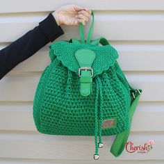 Alesha crochet backpack/backpack/Casual/woman bag/ shoulder bag/ crochet bag/Medium/green/crochet bag/gifts for her/bag