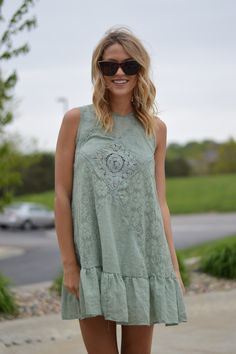 Olive Fleur Dress | Foi Clothing | Crochet Detailed Dress | Spring and Summer Fashion | Adorably Affordable | You Need This In Your Closet | Free People Look a Like| You Need This In Your Closet | Buy NOW on Foiclothing.com | Women's Boutique | Also Available in Blush | Trendiest Dress | Boho Babe |