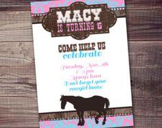 pony invitation, cowgirl, horse, birthday invitation FREE wording customization