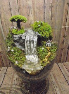 Amazing Huge Waterfall Terrarium with Raku Fired Miniature House, Tree, and glow in the dark Mushrooms - OOAK Handmade by Gypsy Raku
