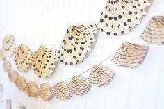 Accordian paper bunting - 30 Amazing Wedding Ceremony & Reception Decoration Ideas