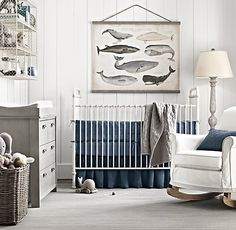 Painted paneling, gray dresser as changing table, navy and gray.  Uses white while maintaining masculinity.  (RH)