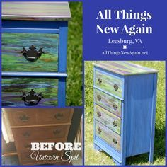 Unicorn Spit to the rescue! Look how it saved this beat-up old dresser. See more projects and tutorials at www.AllThingsNewAgain.net