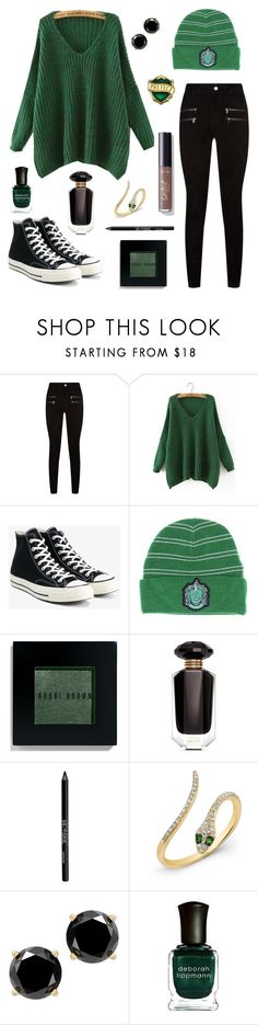 """Slytherin Pride #1"" by sammy-the-moose ❤ liked on Polyvore featuring Paige Denim, Converse, Bobbi Brown Cosmetics, Victoria's Secret, Urban Decay, Anne Sisteron, Deborah Lippmann, Fall, slytherin and SlytherinPride"