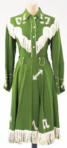 1950s Patsy's cowgirl outfit bright lime green white skirt shirt blouse fringe western wear singer star museum color photo print
