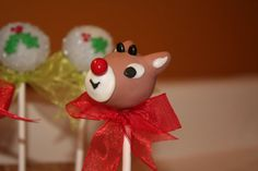 Mom's Killer Cakes & Cookies Rudolph And Clarice Cake Pops Hermey, Yukon Cornelius, Misfit Toys Santa and Mrs. Claus Also Available Christmas Cake Pops, Holiday Pops, Christmas Treats, Christmas Cookies, Etsy Christmas, Christmas Desserts, Santa Cookies, Holiday Treats, Christmas Recipes