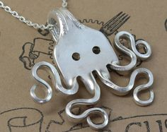 Silver Fork Octopus Pendant - Handmade from Vintage Sterling Silver Plated Silverware - Silverware Jewelry by Doctor Gus