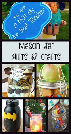 EASY crafts using mason jars that kids can do. Inexpensive gift ideas for Teachers and fun crafts for kids using mason jars. Mason Jar Meals, Mason Jar Gifts, Meals In A Jar, Mason Jars, Fun Crafts For Kids, Easy Crafts For Kids, Diy Arts And Crafts, Diy For Kids, Baby Food Jar Crafts