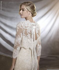 Pronovias knows that every fairy tale has a different leading lady. That's why it has created a beautiful collection for romantic, classic brides, as well as modern, daring heroines. Please contact… Lace Jacket Wedding, Wedding Dress Bolero, Bridal Bolero, Bridal Cape, Wedding Gowns, Pronovias Bridal, Pronovias Wedding Dress 2017, Blush Bridal, Lace Weddings