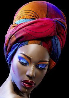 covering the color of a rainbow African Makeup, African Beauty, African Women, Black Women Art, Beautiful Black Women, Afrique Art, African Head Wraps, Black Artwork, Afro Art