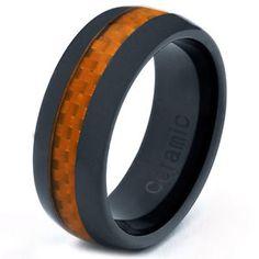 Black Ceramic 8mm Wedding Band Ring Orange Carbon Fiber Inlay Men Women All Size | eBay