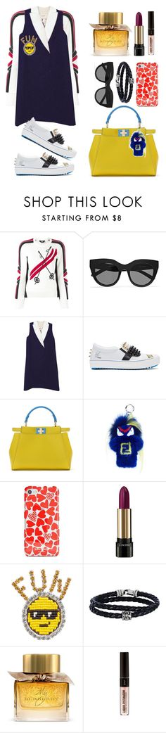 """""""Untitled #193"""" by ivanov1234491 ❤ liked on Polyvore featuring Dsquared2, Le Specs, Fendi, Kate Spade, Lancôme, Shourouk, Phillip Gavriel and Burberry"""