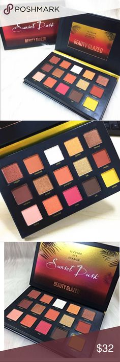 SUNSET DUSK EYESHADOW PALLETE! 15 eyeshadow pallete. Very cute pallete that will give you a glamorous look. Last picture is picture of the actual product. Makeup Eyeshadow