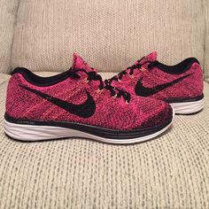 NIKE FLYKNIT LUNAR3 Nike Flyknit Lunar3 in pink/black/white/orange, I have 3 sizes (7.5, 8, 9) all come brand new in a full original box from Nike. Nike Shoes Athletic Shoes