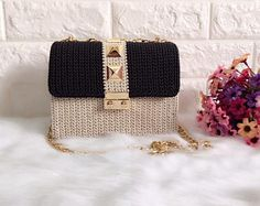 Elegant handmade crochet bag, gift for her, 2017 trend, pattern woman bag, evening bag, summer bag, handbag, crochet bag, clutch