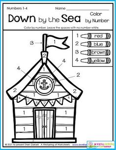 Wouldn't it be fun to hang out in a little beach hut like this in the summer? Coloring this page may just be the closest you or I will get! It uses four colors in a somewhat patriotic scheme. Hope you have fun with it! Please check out all my August Counting Worksheets. I'd rally appreciate it, and I think you'll really like them! Counting Worksheets For Kindergarten, Graphing Worksheets, Number Worksheets, Kindergarten Math, Writing Lines, Learn To Count, Color By Numbers, Tracing Letters, Rally