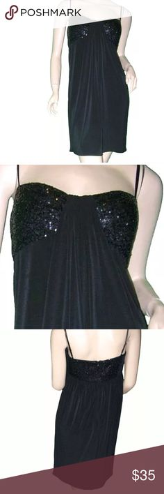 """New sequin bust Nordstrom dress SIZE  4P  CONDITION  NEW WITH TAG  MATERIAL  95% Polyester  5% Spandex  /  Straps 100% Silk  /  Lining  100% Polyester  MEASUREMENTS  Chest 33"""", Empire Waist 28"""", Hip 42"""", Length 33""""  DESCRIPTION  Fabulous black sequined sweetheart bust jersey dress with center draping. The adjustable spaghetti straps and the cording around the top of the dress are silk. Zips up the back, the cups have light foam lining. Retails for $138 (Cocktail - Evening - Party - Semi…"""