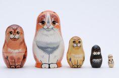 Cat family stacking dolls matryoshka nesting by artmatryoshka, $32.99