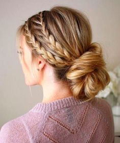 Miraculous Cool Tips: Tight Bun Hairstyles braided hairstyles indian.Simple Everyday Hairstyles wedding hairstyles with vail. Medium Hair Styles, Short Hair Styles, Braided Updo, Lace Braid, Fishtail Plaits, Messy Updo, Braided Headbands, Braid Crown, Boho Updo