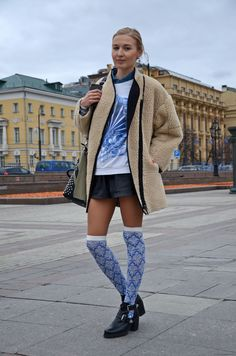 cute , casual style! Lisa Mishina russia fashion week street style by stela