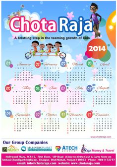 """Chotaraja.com is an ideal platform which combines learning with fun and entertainment with  information for Kids.  Please find below """"CALENDAR – 2014"""" with positive & vibrant hopes for the coming year."""