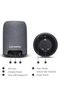 Portable Bluetooth Speakers, ZENBRE M4 Wireless Speakers, Mini Computer Speakers with Enhanced Bass Resonator, Built-in Microphone (Black)