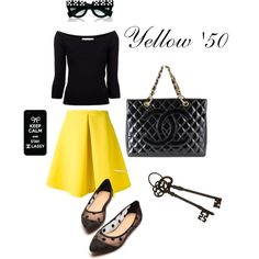 """yellow '50"" by fabyblog on Polyvore"