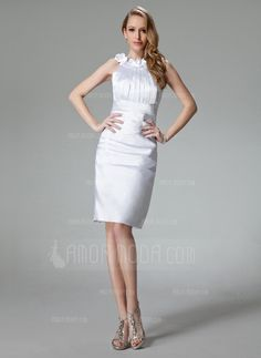 Special Occasion Dresses - $102.99 - Sheath Scoop Neck Knee-Length Charmeuse Cocktail Dress With Ruffle Flower(s) (016002965) http://amormoda.com/Sheath-Scoop-Neck-Knee-length-Charmeuse-Cocktail-Dress-With-Ruffle-Flower-S-016002965-g2965
