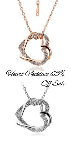 Double Heart Necklace With Silver Crystals 1ba9b85d42f1