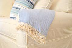 Mama throw blanket / adult size muslin blanket / fringe trim blanket / fall throw