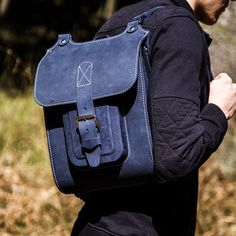 """Blue leather backpack. Handmade of hard and sturdy leather. 13"""" size. Find out more on Etsy by InBagWeTrust"""