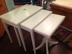 light sage nest tables $200 - Chicago http://furnishly.com/catalog/product/view/id/4951/s/light-sage-nest-tables/