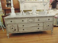 Fab antique buffet tv stand shabby chic distressed grey white