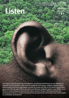 LISTEN - From a series of 6 posters on deforestation for UN-REDD by Chaz Maviyane-Davies.