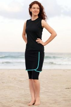 Cute bright teal/black swimsuit - modest, too!