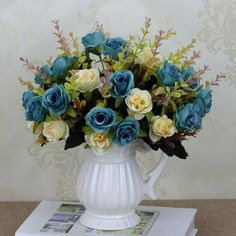 10 Heads Artificial Silk Lillies Flowers In Vase Bouquet Gedding Party Decor GO9