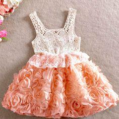 Vintage inspired girls dress. Crochet, lace and rosette dress.