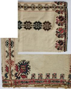 Embroideries on a sleeve and on the lower edge of a woman's chemise. From the village of Stefanovo (Lovech region, Bulgaria), late 19th century.