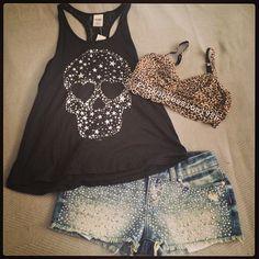 Rocker Ladies Outfit - Black Tank Top With Skull, Cut Off Jean Shorts Leopard Print Bra!